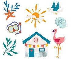 Elements for sea recreation. Beach items for sea recreation. Bungalow, gull, swimming mask, flamingo, sun, beach house and  seashell. Sea holidays. Set of Nautical Pictures. Vector illustration