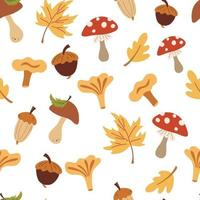 Autumn seamless pattern with mushrooms and leaves. Autumn forest. Falling leaves, acorns, mushrooms. Floral design for wrapping paper, fabrics, covers and cards. Vector illustration in cartoon style