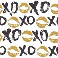 Xoxo cepillo letras signos de patrones sin fisuras, frase caligráfica de abrazos y besos de grunge, abreviatura de jerga de Internet símbolos xoxo, ilustración vectorial aislado sobre fondo blanco vector