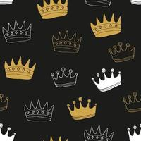 Crown Seamless Pattern, hand drawn royal doodles background, Vector Illustration