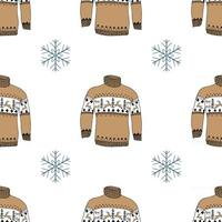 Winter season doodle clothes seamless pattern. Hand drawn sketch elements vector background illustration.