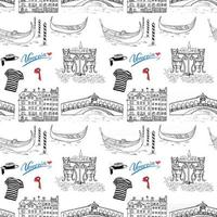 Venice Italy seamless pattern. Hand drawn sketch Doodle drawing vector illustration background