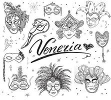 Venice Italy sketch carnival venetian masks Hand drawn set. Drawing doodle collection isolated vector