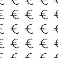 Icono de signo de euro cepillo letras de patrones sin fisuras, fondo de símbolos caligráficos de grunge, ilustración vectorial vector