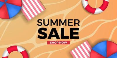 summer sale offer banner promotion with sand beach coast background vector