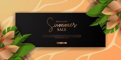 summer sale offer banner elegant luxury with green tropical leaves decoration vector