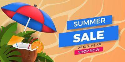summer sale offer banner promotion with tropical leaves with coconut drink and sand background vector