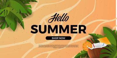 hello summer banner poster with tropical leaves with coconut drink and sand background vector