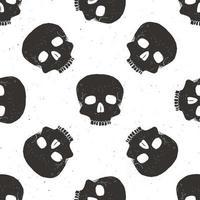 Skull seamless pattern, hand drawn sketch vector illustration