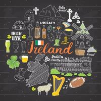 Ireland Sketch Doodles. Hand Drawn Irish Elements Set with flag and map of Ireland, Celtic Cross, Castle, Shamrock, Celtic Harp, Mill and Sheep, Whiskey Bottles and Irish Beer, Vector Illustration