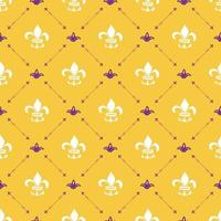 Mardi Gras seamless pattern vector illustration. Hand drawn sketched doodle Holyday elements and royal symbols, Vector illustration