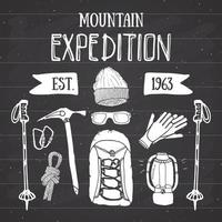 Mountain expedition vintage set. Hand drawn sketch elements for retro badge emblem, outdoor hiking adventure and mountains exploring label design, Extreme sports, vector illustration.