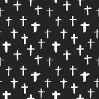Cross symbols seamless pattern grunge hand drawn Christian crosses, religious signs icons, crucifix symbol vector illustration