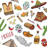 Mexico seamless pattern doodle elements, Hand drawn sketch mexican traditional sombrero hat, poncho, cactus and tequila bottle, map of mexico, skull, music instruments. vector illustration background.