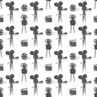 cámara, carrete de película y claqueta, vintage de patrones sin fisuras, boceto dibujado a mano, industria del cine retro, ilustración vectorial vector