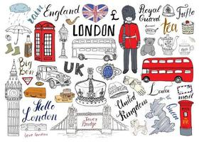 London city doodles elements collection. Hand drawn set with, tower bridge, crown, big ben, royal guard, red bus and cab, UK map and flag, tea pot, lettering, vector illustration isolated