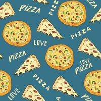 Pizza seamless pattern hand drawn sketch. Whole pizza and slice doodles Food background. Vector illustration