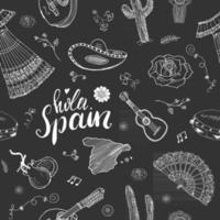 España de patrones sin fisuras doodle elementos, boceto dibujado a mano camarones de comida española, aceitunas, uva, bandera y letras. fondo de ilustración vectorial. vector