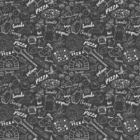 pizza de patrones sin fisuras boceto dibujado a mano. Fondo de comida de garabatos de pizza con harina y otros ingredientes alimentarios, horno y utensilios de cocina. ilustración vectorial vector