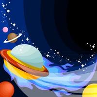 Colorful Flat Style Flying UFO vector