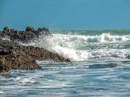 Waves crash ashore on Piha Beach, Auckland, New Zealand photo