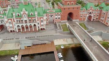 Embankment Bruges in Yoshkar-Ola. Russia, Republic of Mari El. Aerial summertime, day video