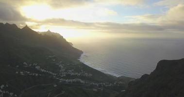 Aerial drone view of the coast coastline ocean sea at sunset in Tenerife, Spain. video