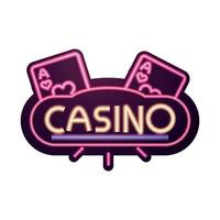 casino bright banner aces gambling neon sign vector