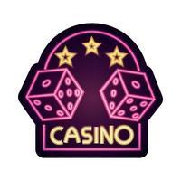Casino dados estrellas banner de juego letrero de neón vector