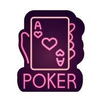 casino ace poker card gambling neon sign vector