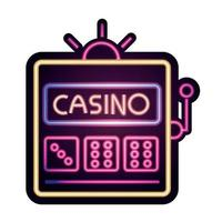 Casino dados tragamonedas juegos de azar letrero de neón vector