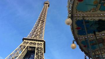Eiffel Tower and carousel in Paris, France. video