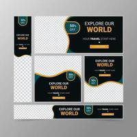 Travels web banner ads template vector