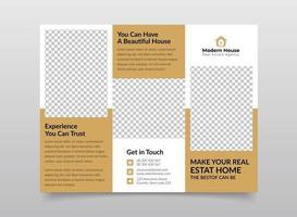 Real estate trifold brochure design template vector