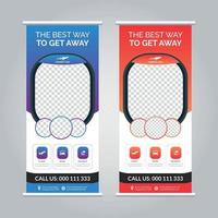Travel agency roll up banner vector
