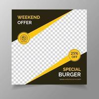 Burger social media post template vector