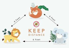 Animal covid social distancing vector
