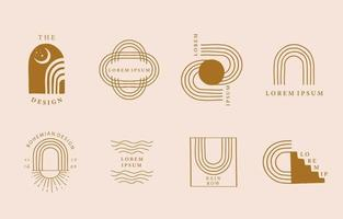 Collection of line design with curve vector
