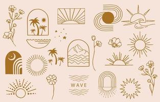 Collection of line design with sun vector