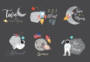 Collection of space object set with astronaut vector