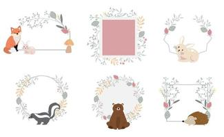 Nature frame collection with leaf and flower vector