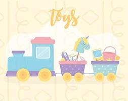 cute train wagons with horse bucket plane shovel cartoon kids toys vector