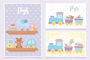 kids toys shelves with elephant pyramid ball teddy bear car video game train vector