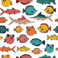 Seamless pattern of Doodle isolated animals. Set of outline cartoon vector fish, tang, flounder, tuna, ocean burrfish, sea marlin. Illustration on white background for children's book or prints