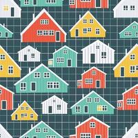 Red, yellow, green, blue Canadian and Scandinavian colorful houses  pattern on blue squared background vector