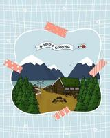 Canadian or Scandinavian brown wooden house with grass on the roof, trees, mountains, helicopter with Happy Spring text vector hand drawn emulation of photo under pink patterned washi tapes