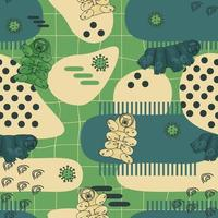 Green, blue, beige tardigrades on abstract seamless pattern with lines, dots and different forms vector