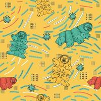 Yellow, blue, white, pink tardigrade seamless repeat  pattern with lines and dots vector