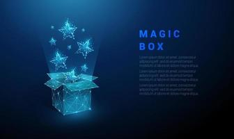Abstract open gift box and flying blue stars vector