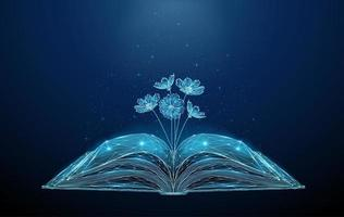 Abstract open book with growing blooming flowers. vector
